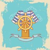 La carte de voeux avec la robe et volant dedans le style de griffonnage Image stock