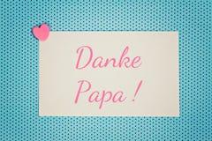 La carte de voeux bleue vous remercient papa Photo stock