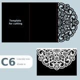 La carte de voeux C6 à jour de papier, invitation de mariage, l'invitation de dentelle, carte avec le pli raye, fond d'objet, Cu  illustration stock