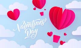 La carte de voeux d'art de papier de jour de valentines du ballon à air chaud de coeur de valentine sur le ciel bleu et le nuage  Photos libres de droits