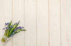 La carte de voeux de Pâques avec le bouquet du bleu de ressort fleurit Photographie stock libre de droits