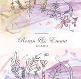 La carte de voeux florale de vintage fleurit le cadre dans le style d'aquarelle images libres de droits