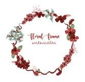 La carte de voeux florale de vintage fleurit le cadre dans le style d'aquarelle images stock