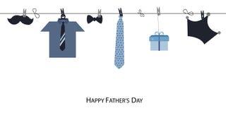 La carte de voeux heureuse du jour de père avec le lien accrochant et la chemise dirigent le fond Image libre de droits