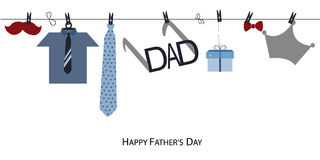 La carte de voeux heureuse du jour de père avec le lien accrochant et la chemise dirigent le fond Photos stock
