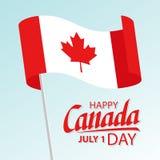 La carte de voeux heureuse de jour de Canada avec onduler le texte canadien de lettrage de drapeau national et de main conçoivent illustration stock