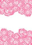 La carte de voeux heureuse de rose de jour du ` s de mère avec les fleurs roses encadrent la frontière illustration de vecteur
