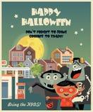 La carte de voeux heureuse de vecteur de Halloween avec Halloween badine Image stock