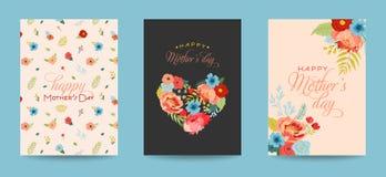 La carte de voeux de jour de mères a placé avec le bouquet de fleurs Bannière florale de fête des mères heureuse La meilleure aff illustration stock