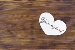 La carte de voeux de jour de valentines avec vous marquer avec des lettres sont mon coeur Photographie stock
