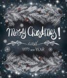 La carte de voeux de Noël avec le hoar et la neige a couvert des branches de sapin de cônes et de lettrage des textes : Joyeux No images stock