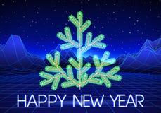 La carte de voeux de nouvelle année avec 80s a dénommé l'arbre de Noël au néon illustration de vecteur