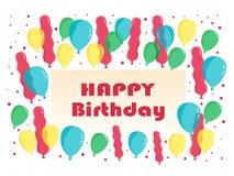 La carte de voeux plate de joyeux anniversaire monte en ballon le vecteur Photos stock