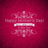 La carte de voeux rouge du jour de mère avec des roses et les souhaits textotent Image libre de droits