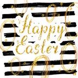 La carte de voeux tirée par la main heureuse de Pâques avec le lettrage et les éléments esquissés de griffonnage, scintillement d Photos stock