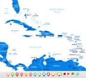 La carte des Caraïbes - illustration de vecteur illustration de vecteur