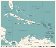 La carte des Caraïbes - illustration de vecteur de vintage illustration stock