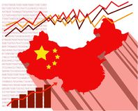 La carte des peuples République de Chine avec les graphiques économiques derrière Images libres de droits