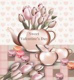 La carte douce de Saint Valentin avec la tulipe fleurit dans un pot Style réaliste de vecteur Rétro milieux Photo libre de droits