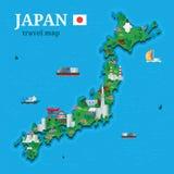 La carte du Japon pour le voyageur avec les attractions orientales locales dirigent le style plat d'image Photographie stock