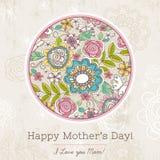 La carte du jour de mère avec le grand rond du ressort fleurit, vecteur illustration libre de droits