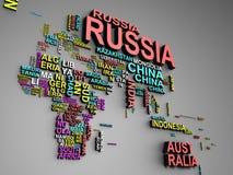 La carte du monde avec tous les états et leur illustration des noms 3d dessus Photographie stock