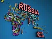La carte du monde avec tous les états et leur illustration des noms 3d dessus Images stock