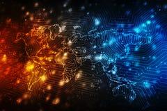 La carte du monde et le blockchain scrutent pour scruter réseau, concept de réseau global Image stock