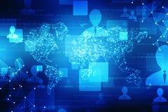 La carte du monde et le blockchain scrutent pour scruter réseau, concept de réseau global illustration de vecteur