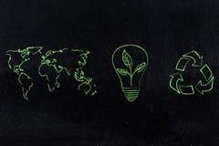 La carte du monde et réutilisent le logo à côté de l'ampoule avec l'élevage de feuilles Images stock