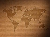 La carte du monde montre le carton ondulé Photographie stock libre de droits