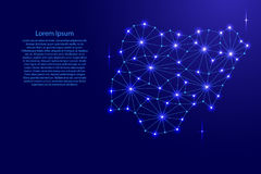 La carte du Nigéria de la mosaïque polygonale raye le réseau, rayons, étoiles de l'espace de l'illustration Photo stock