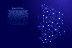 La carte du Tchad de la mosaïque polygonale raye le réseau, rayons et l'espace tient le premier rôle l'illustration illustration de vecteur