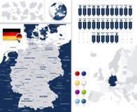 La carte et ce de l'Allemagne est des états Photo stock