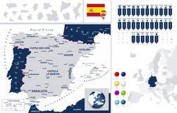 La carte et ce de l'Espagne est des états Photos libres de droits