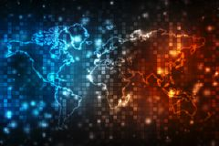 la carte et le blockchain de runWorld de l'homme d'affaires 3d scrutent pour scruter le réseau, Netning global dans des roues de  Photographie stock