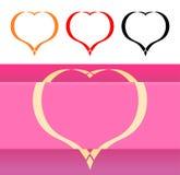 La carte et les icônes de Valentine avec des coeurs Images stock