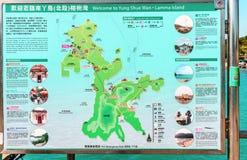 La carte extérieure de l'île de Lamma en porc Kong montre tous les vues et équipements principaux situés sur l'île photo libre de droits