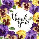 La carte florale d'aquarelle avec vous remercient lettrage Illustration peinte à la main avec des fleurs, des feuilles et des bra Images stock