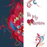 La carte florale romantique de vecteur soit mon Valentine Photos libres de droits