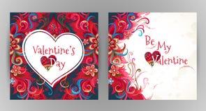 La carte florale romantique de vecteur soit mon Valentine Photographie stock