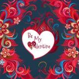 La carte florale romantique de vecteur soit mon Valentine Image libre de droits