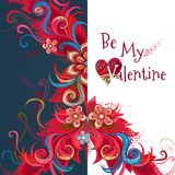 La carte florale romantique de vecteur soit mon Valentine Photo libre de droits