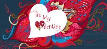 La carte florale romantique de vecteur soit mon Valentine Photos stock