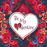 La carte florale romantique de vecteur soit mon Valentine Images stock