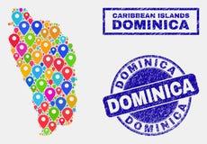 La carte goupille la mosaïque de Dominica Island Map et des phoques rayés de timbre illustration stock