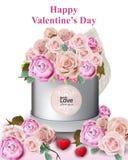 La carte heureuse de Valentine avec la pivoine et les roses fleurit des illustrations de vecteur de boîte-cadeau Photo libre de droits