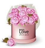 La carte heureuse de Valentine avec la pivoine fleurit des illustrations de vecteur de boîte-cadeau Photographie stock libre de droits