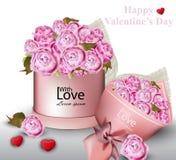 La carte heureuse de Valentine avec la pivoine fleurit des illustrations de vecteur de boîte-cadeau Photographie stock