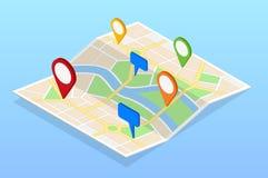 La carte isométrique de navigation de ville avec des goupilles ou les généralistes tracent, paysage urbain Illustration de vecteu Images libres de droits